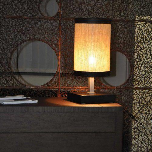 Lampada Arka -  da tavolo con basamento quadrato in legno wengè.