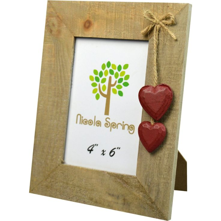 "Nicola Spring Wooden Photo Picture Frame With Red Hearts - 4 x 6"": Amazon.co.uk: Kitchen & Home"
