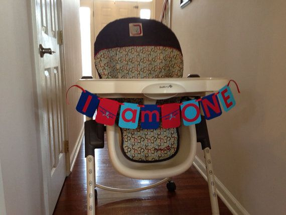 Vintage Airplane I AM ONE Birthday High Chair by HandmadeByVee, $13.00