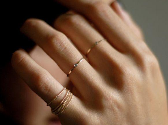 Gabriela Artigas' Mini Diamond Rings | Bride Ideas: Stackable Rings, Delicate Rings, Thin Rings, Diamonds Rings, Gold Rings, Stacking Rings, Wedding Rings, White Gold, Engagement Rings