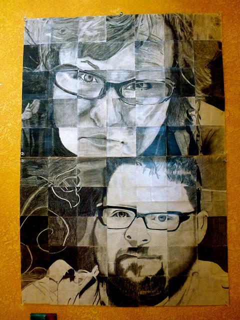 I would love to do this project with my art kids at school but I'm not sure who to draw... I found this on Teesha Moore's site. Here's the info. Students in Lisa Cheney-Jorgensen's classmade these drawingings of Teesha and her husband. She takes a b/w photo, blows it up, cuts it into small squares and then has each student draw out their square on a post-it note.  They have no idea what they are drawing.  She then starts sticking them all up revealing what they collectively made.  She then…