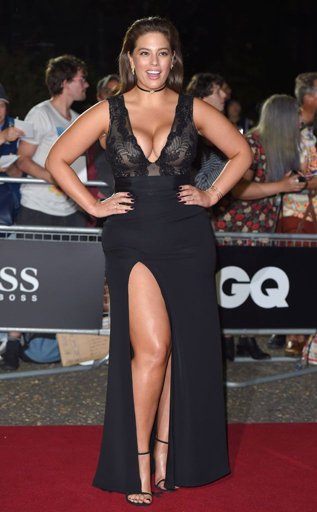 Breast in Show from Fashion Police Wowza! Ashley Graham flaunts all her curves in a gorgeous Tadashi Shoji gown at the 2016 GQ Men of Year Awards in London. What do you get when you combine a plunging neckline, a thigh-high slit and a stunning model? This.
