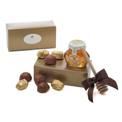 Rosh Hashana Sweet New Year Gift Box,  Our Rosh Hashana Sweet New Year Gift Box comes with a 3 oz. honey, dipper and Empress filled truffles all wrapped up in our signature gift box and ribbon. Shana Tova!  Parve  Rosh Hashana Gourmet Gift Basket, Rosh Hashanah Gifts, Rosh Hashanah Kosher Gifts, Shana Tova Gifts, Jewish New Year Gifts