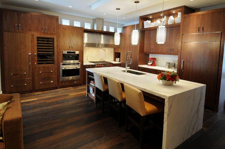 Kitchen, Stunning Wooden Wardrobe For Kitchen Design Pendant Lamps Above White Marble Island Stove Set On Corner Hardwood Flooring Bar Stools Idea Along.jpg: 22 for Ideas Made of Wood