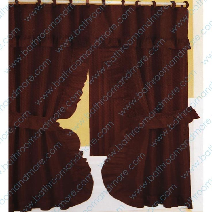 Chocolate Brown Fabric Ruffled Double Swag Shower Curtain Liner Set