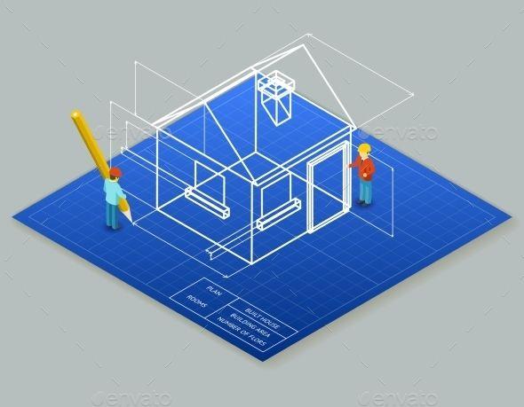Architectural Design Blueprint Drawing 3d