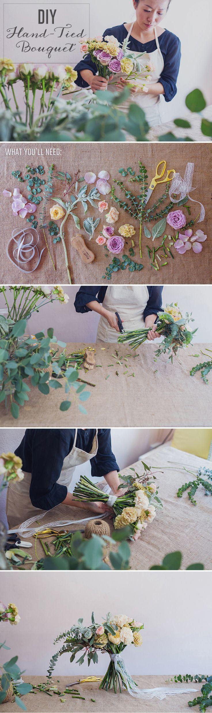 DIY Rustic Hand-Tied Bridal Bouquet {Instagram: theweddingscoop}