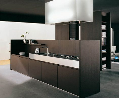 Iconic Kitchen Design by Binova - Modus kitchen combines dark wood and tall stature