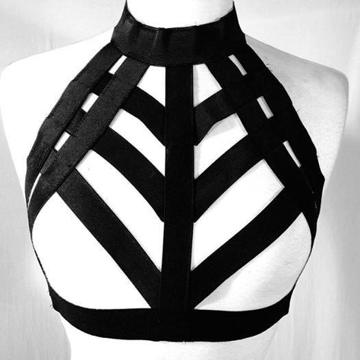 Body harness пастель гот груди сетки garterbelt готический бюст бюстгальтер ремешок sexy women кейдж связывание белье bralette черный розничная