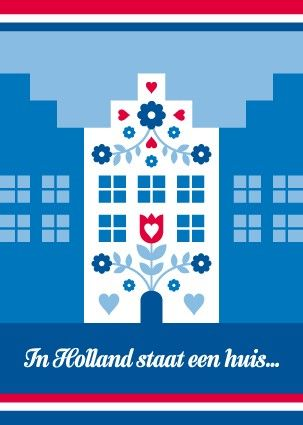 Ansichtkaart Rood-Wit-Blauw Huis