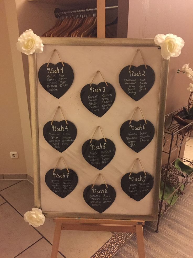 Seating wedding slate hearts, large picture frame and easel