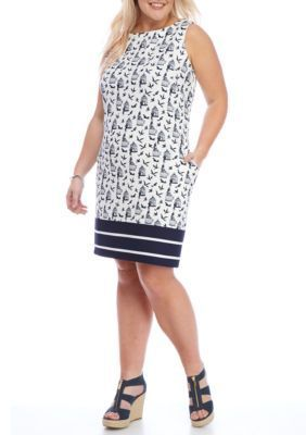 Julian Taylor IvoryNavy Plus Size Shift Bird Border Print Dress