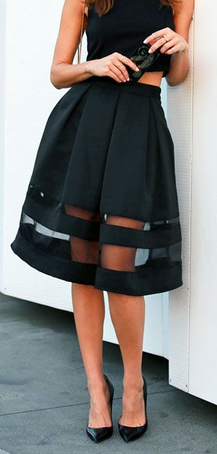 Vintage striped black skirt with sexy sheer panels. Plus a crop top! The better LBD! #black #style #fashion