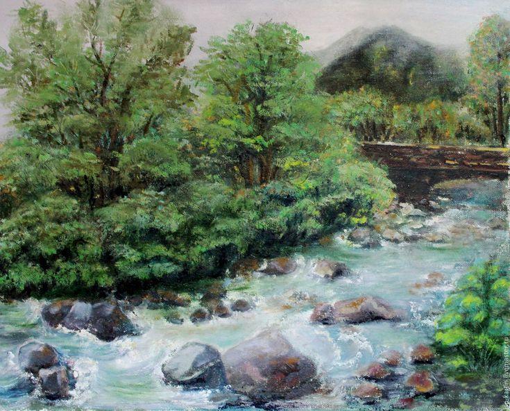 Купить Картина маслом. Горная речка - зеленый, горная речка, Алтай, картина в подарок