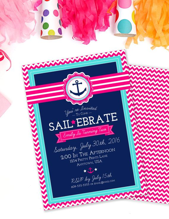 Sailebrate Birthday Invite, Nautical Birthday Invitation, Girls Birthday, Anchor Birthday Invite, Pink and Navy, Printable Invite, #60