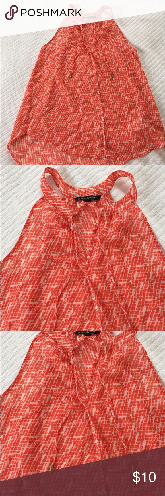 Small Banana Republic Top Orange and White 100% polyester, good condition sleeveless top with detail at neck. Banana Republic Tops