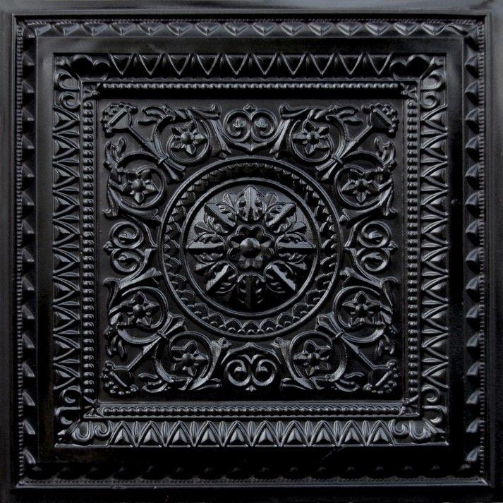 223 Faux Tin Black Ceiling Tile - 24x24 - Black.  very pretty.