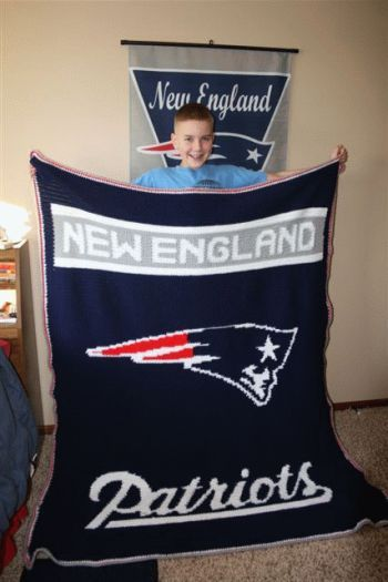 Crochet Football Afghans, blankets.  Pretty cool--my wife crochets, so maybe I'll find her this pattern.  #Patriots