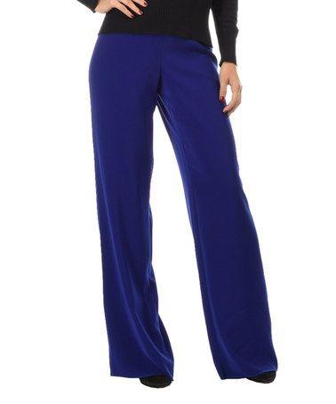 Electric Blue Palazzo Pants - Women #zulily #zulilyfinds