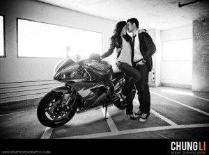 san francisco motorcycle engagement photo