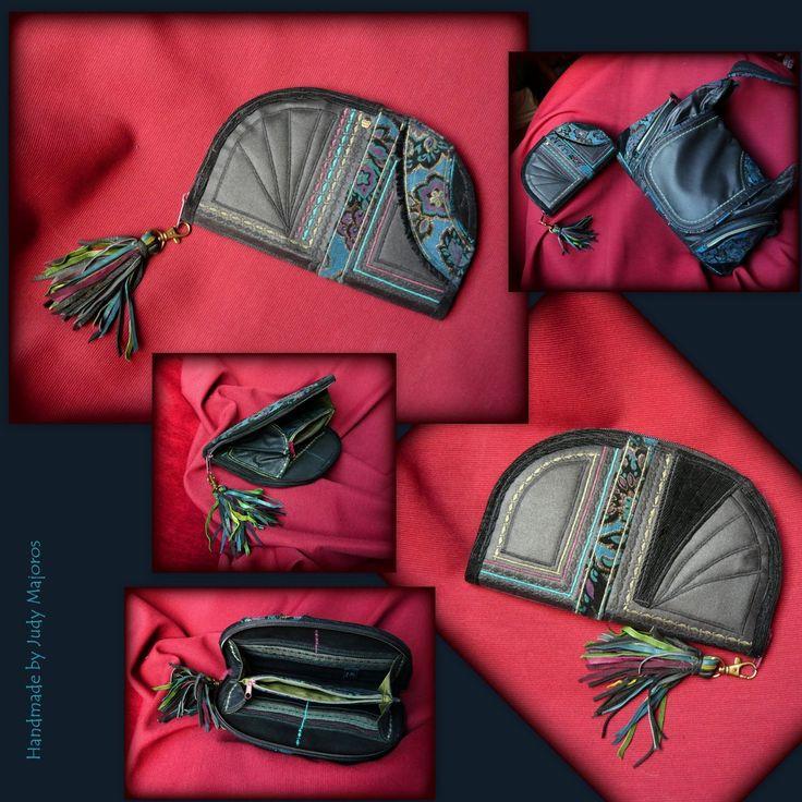 Handmade by Judy Majoros -Black fringe wallet-clutch-Recycled bag.