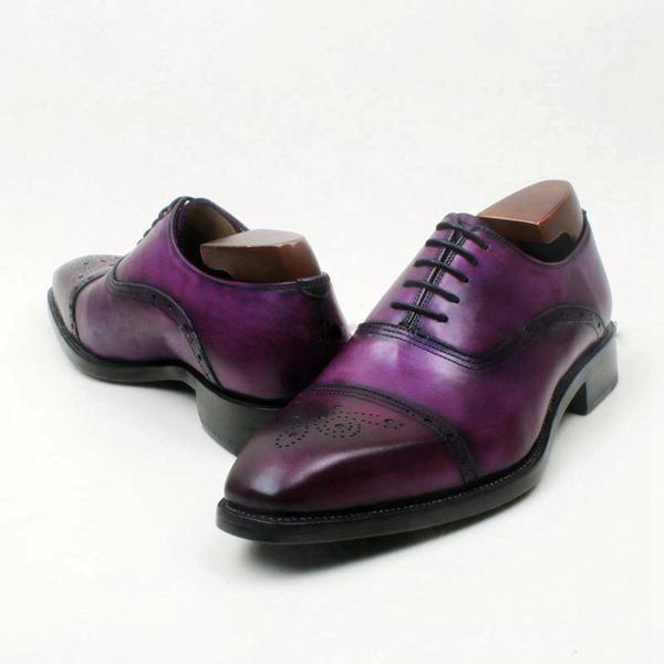 Patina Purple Luxury Semi Oxford Shoes Leather Handmade Largesizemensshoes Size15mensboots Bespoke Uptosize15 Ankleboots Mensmallsizeshoes Menssize5