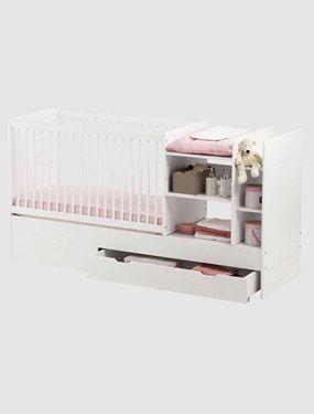 Très fonctionnel, gain de place et modulable, il accompagne bébé pour de nombreuses annéesDIMENSIONS : voir fiche technique ci-dessous4 phases d'utilisation :Berceau jusqu'à 4 mois (couchage : 40 x 80 cm) + côté siège + table à langer (jusqu'à 15 kg) + 2 niches de rangementsLit à barreaux (couchage : 60 x 120 cm) avec sommier réglable en hauteur sur 2 positions + espace de rangementLit junior (couchage 90 x 190 cm) avec barrières de protection&n...