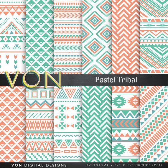 "Aztec Digital Paper: ""PASTEL AZTEC"" aztec patterns, tribal background, pastel geometric background, pastel digital paper, triangles, arrows,"