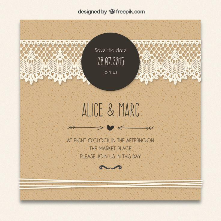 Hochzeitseinladung Kraftpapier Trend 2016 Spitze
