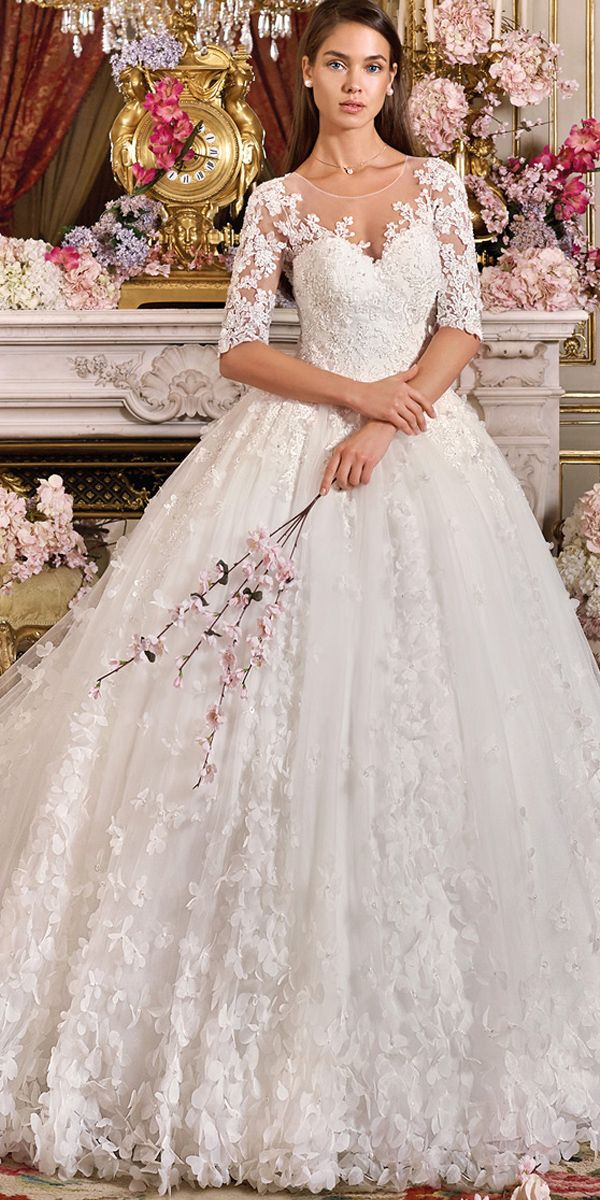 Gorgeous Tulle Jewel Neckline Ball Gown Wedding Dress With 3D Flowers & Lace Appliques & Beadings