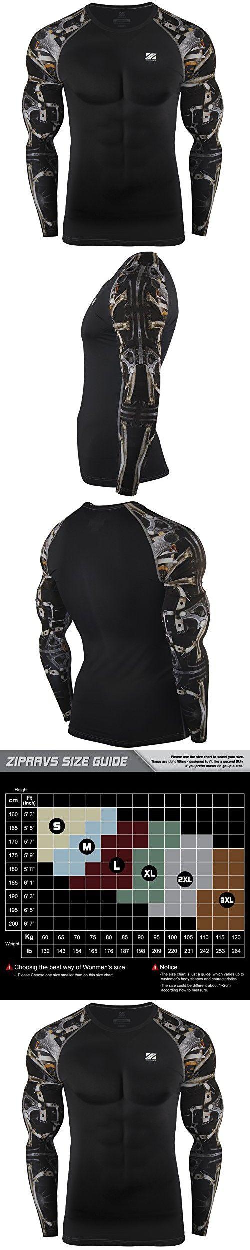 Zipravs Machine Print Compression Running Tight Shirt Long Sleeve