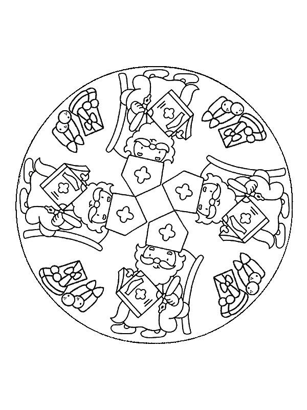 kleurplaat Mandala Sinterklaas - Mandala Sinterklaas