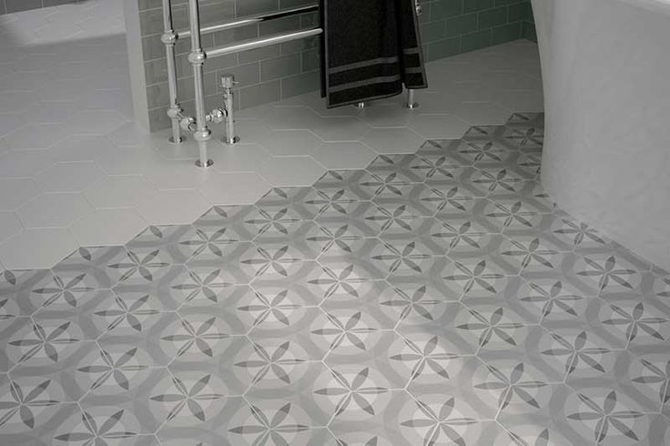 £35/sqm If your looking to create a statement floor then these Hexagon tiles really could be the answer.Perfect for a vintage bathroom, kitchen or hallway they are available in white, cream,grey & black. Think outside the box and use as a wall tile for a modernist feature wall.Also check out our Hexagon Harmony and Nature ranges for a quirky patterned style.