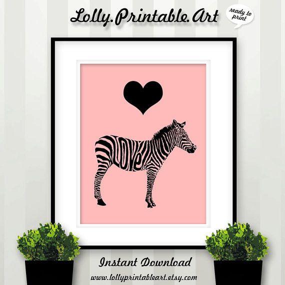 Unique Printable Art Zebra Love Pink by LollyPrintableArt on Etsy