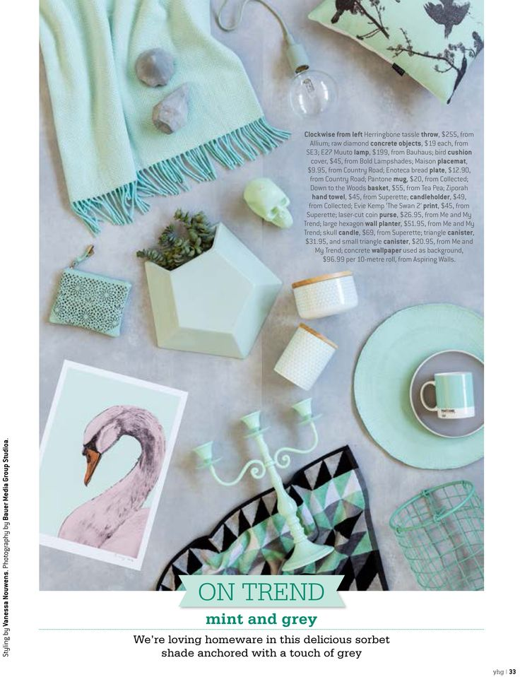 On Trend - Mint & Grey featuring our beautiful herringbone throw in the latest Your Home & Garden Magazine!