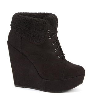 Black (Black) Black Shearling Lace Up Wedges | 258353501 | New Look