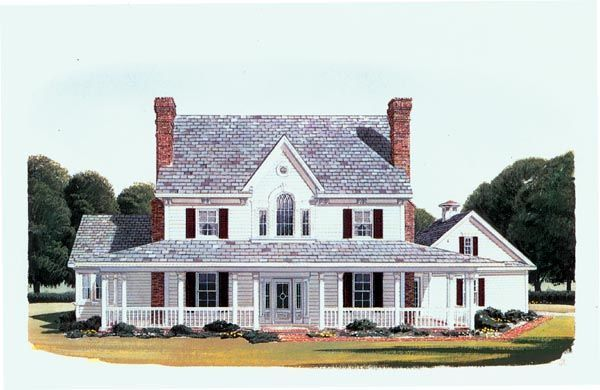 Elevation of Country   Farmhouse  House Plan 95588