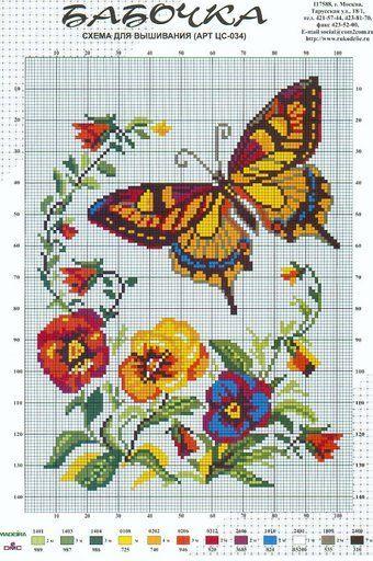 Schema punto croce Farfalla Con Fiori