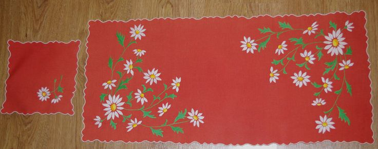Polish Dark orange embroidered floral table runner & napkin traycloth White Green Flowers Embroidery Table top flowery dresser scarf Spring by VintagePolkaShop on Etsy