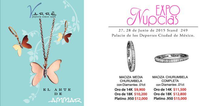 Expo Nupcias...Junio ♥♥♥ Te esperamos en Expo Nupcias 2015, en el Stand 249 este 27 y 28 de Junio. Argollas de Matrimonio desde $4,500 pesos. Joyería de Platino & Diamante / Argollas de Matrimonio Oro & Platino / Anillos de Compromiso Platino & Diamante / Churumbelas... #junio #díadelpapa #matrimonio #expotuboda #eshoradecompartir #momentos #lunes #yonovia #joyería #amor