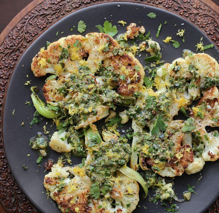 Cauliflower Steaks with Herb Salsa Verde | PETIT WORLD CITIZEN