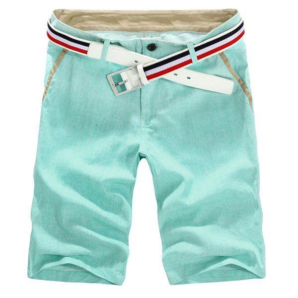 Korean Style Slimming Button Embellished Linen Shorts For Men