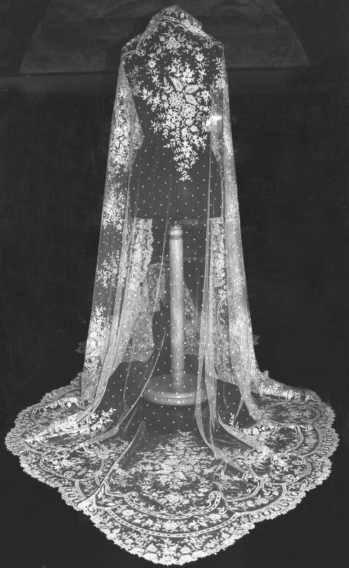 Exquisite Authentic Fine Victorian Antique BRUSSELS LACE Wedding Veil - 1860s. $6,170.00, via Etsy.