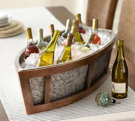 Adorable idea to chill beverages for reception -- Bronson Boat Cooler | Pottery Barn Nautical Wedding Decor; #Nautical Wedding Decorations: Boat Ice Cooler; Summer Wedding Ideas; Nautical Wedding Ideas #NauticalWedding