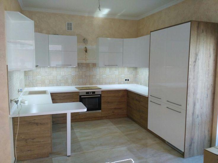 Кухня с фасадами из дсп cleaf s072 и мдф niemann by ARTmeb