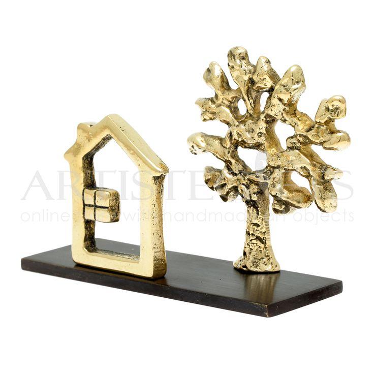 """Χειροποιήτη καρτελοθήκη Σπίτι Δέντρο υλοποιημένη από ορείχαλκο. Αποκτήστε την πατώντας στον παρακάτω σύνδεσμο http://www.artistegifts.com/kartelothiki-spiti-mikro-dentro.html  Desktop handmade cardholder """"House Tree"""" materializes from bronze"""