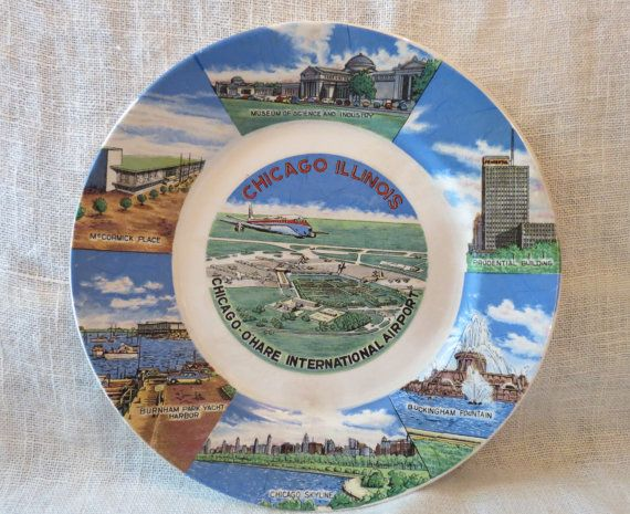 1950's Chicago O'Hare Airport Decorative Plate by cloud9eclectic