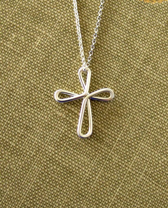 Cross Necklace Sterling Silver Continuous by vintagestampjewels