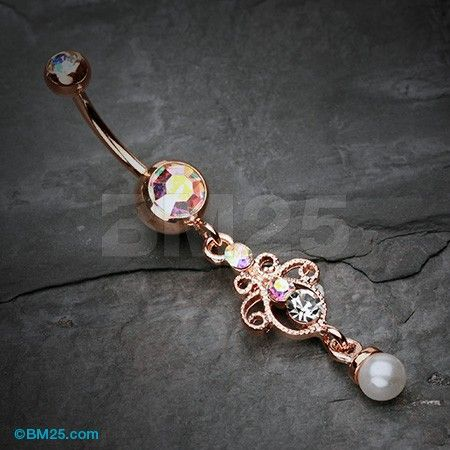 Rose Gold Elegant Jeweled Pearl Dangle Belly Button Ring