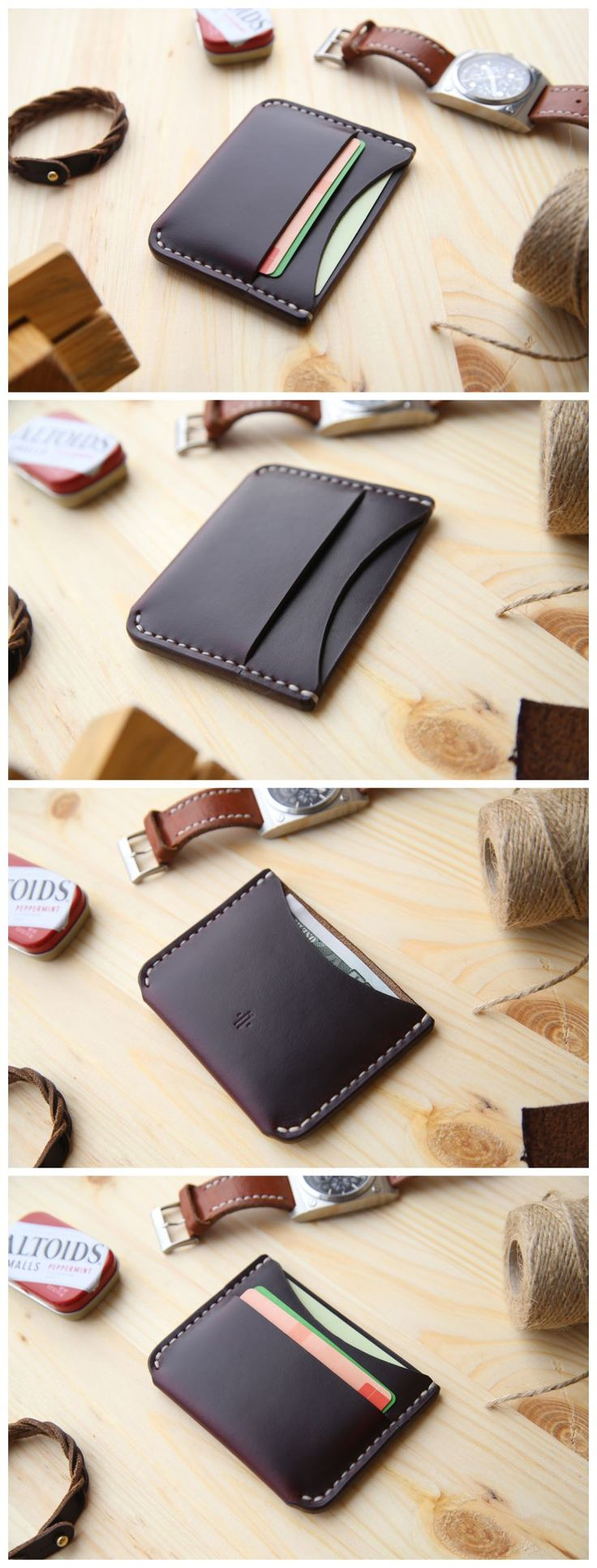 Card Holder Wallet in Horween Chromexcel #8 #manufacturabrand#accessories #wallet #leather#handmade#leathergoods #everydaycary#vegtanleather#handcraft #handstitched#leathercraft #cardholder #cardwallet#horween #horweenwallet